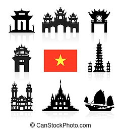 Vietnam Travel Landmarks. Vector and Illustration