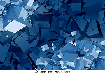 Chaotic Cubes Abstract Background Illustration.