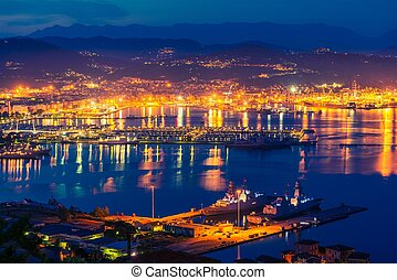 La Spezia at Night - La Spezia at NIght Gulf of La Spezia in...