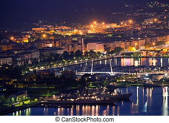 La Spezia Italy at Night Hot Summer Night in Northern Italy,...