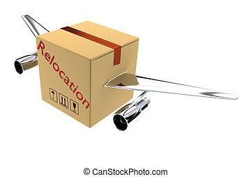 Relocation concept 3d render illustration - 3d render of...