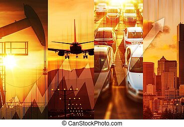 Powerful Economy Concept Collage. Oil and Gas Market,...