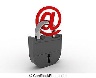 internet, email, seguridad, concepto,