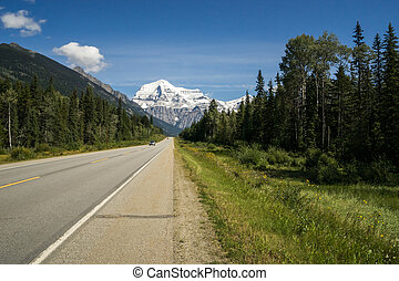 Highway 16 and Mount Robson in blue sky, British Columbia
