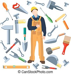 Set isolated objects, worker saw, trowel, hammer, screwdriver, brush
