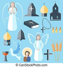 Set theme religion angel, bell, church, dove - Set of...