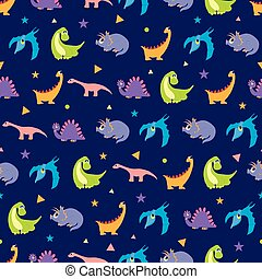 Vector Colorful Dinosaurs Rows Seamless Pattern Vibrant...