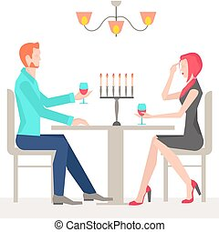 Romantic date, couples in love