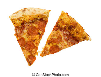 Two slices of pepperoni pizza on a white background