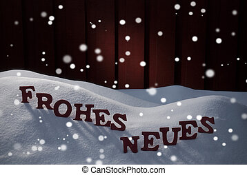Frohes Neues Means Happy New Year With Snowflakes