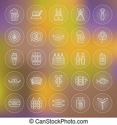 Thin Outline Beer Oktoberfest Circle Line Icons Set. Vector...