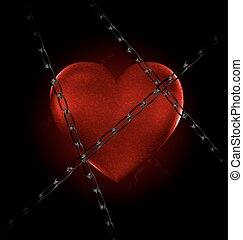 chain and heart - dark and a big red heart-stone with a...