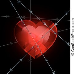 heart and wire - dark and a big red heart-crystal with wire