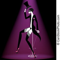 actor cabaret in black - black-purple background and a...