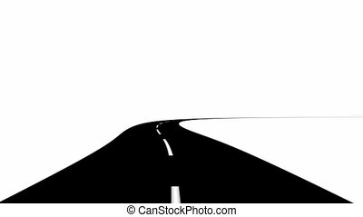 Curved Road - 3D animated road.  Curved.