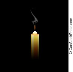 canceled candle - black background and a sad fireless candle...