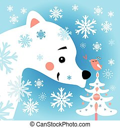 bear in the snow forest - Beautiful vector illustration of a...