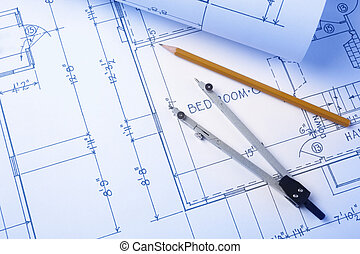 blueprints - construction concept, selective focus (all...