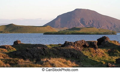 Iceland Landscape - Beautiful wide shot of Iceland Sea and...