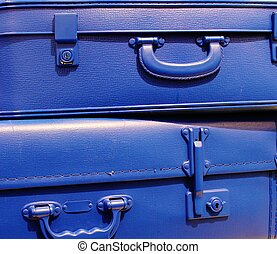blue stacked vintage style suitcases - blue stacked vintage...