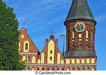 Tower Koenigsberg Cathedral. Symbol of Kaliningrad, Russia -...
