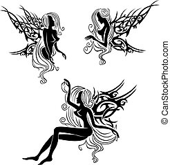 Tattoo with fairies or elves - Three tattoo designs with...