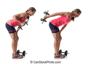 Triceps Kickback - Triceps kickback exercise. Studio shot...