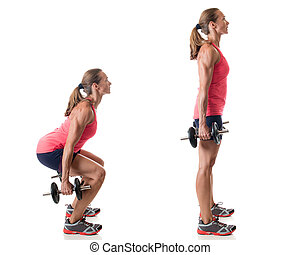 Dumbbell Squat - Dumbbell squat exercise Studio shot over...