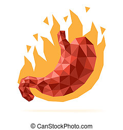 Stomach heartburn disease illustration with faceted low-poly...