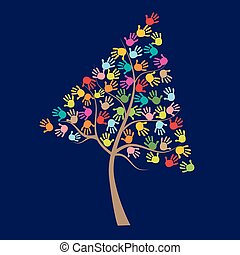 Tree with colorful baby hand prints