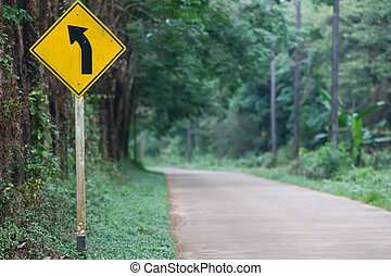 Left Curve Ahead on the island road of Thailand