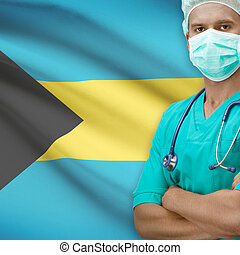 Surgeon with flag on background series - Bahamas - Surgeon...