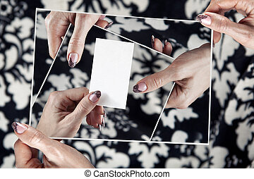 multitude hands of women hold empty white card