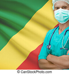Surgeon with flag on background series - Congo-Brazzaville -...