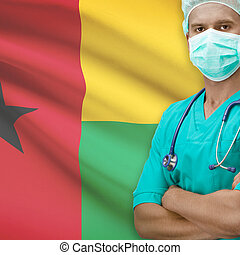 Surgeon with flag on background series - Guinea-Bissau -...