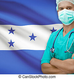 Surgeon with flag on background series - Honduras - Surgeon...