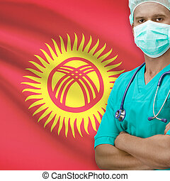 Surgeon with flag on background series - Kyrgyzstan -...