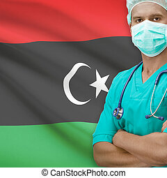 Surgeon with flag on background series - Libya - Surgeon...