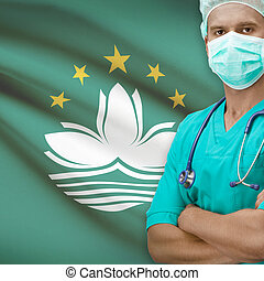 Surgeon with flag on background series - Macau - Surgeon...