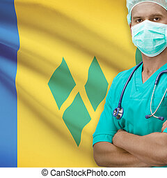 Surgeon with flag on background series - Saint Vincent and...
