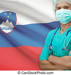 Surgeon with flag on background series - Slovenia - Surgeon...