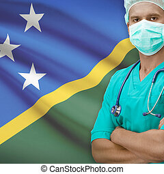 Surgeon with flag on background series - Solomon Islands -...