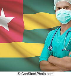 Surgeon with flag on background series - Togo - Surgeon with...