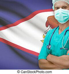 chirurgo, con, bandiera, su, fondo, serie, -, americano,...