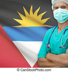 Surgeon with flag on background series - Antigua and Barbuda...