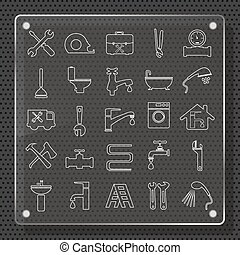 Plumbing Icons Flat Design - plumbing objects and tools...