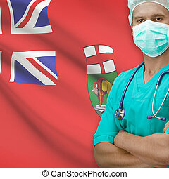 Surgeon with Canadian province flag on background series -...