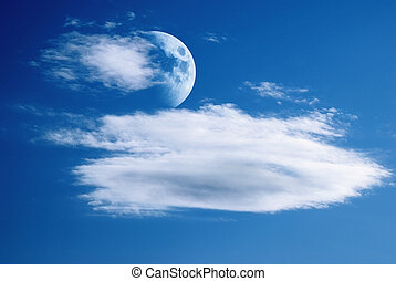 moon and clouds in the sky
