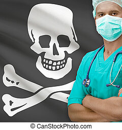 Surgeon with flags on background series - Jolly Roger flag -...