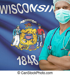 Surgeon with US states flags on background series -...